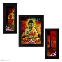 Religious Idols & Paintings Trendy Personal Home Painting Material: Synthetic Size : Frame 1 (L x W) - 6 in x 13 in          Frame 2 (L x W) - 10.2 in x 13 in          Frame 3 (L x W) - 6 in x 13 in Description: It Has 3 Pieces Of Frames With Painting (Glass Is Not Included) Work: Printed Country of Origin: India Sizes Available: Free Size   Catalog Rating: ★4 (346)  Catalog Name: Trendy Personal Home Paintings Vol 1 CatalogID_378367 C128-SC1316 Code: 213-2788051-756