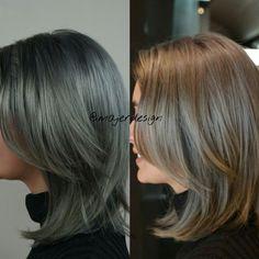 Granny hair , gray hair in different lighting