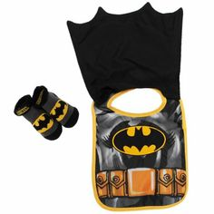 DC Baby Boys Infant Caped Bib And Bootie Set (Batman)