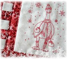 Download the PDF pattern for Winter's Fellow, a redwork stitchery with bonus mini-quilt instructions!