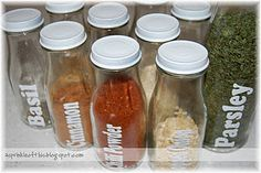 custom spice jars - from Starbucks bottles ( Hey mom - start saving those Frap bottles please)