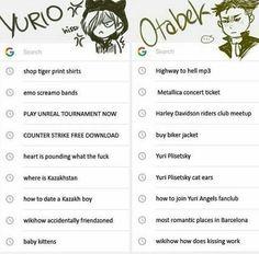 Yuri and Otabek's Google search history
