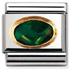 Nomination Composable Classic Semi Precious Stone Oval made of Emerald, Stainless Steel and 18K Gold