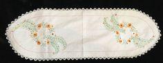 Vintage Doily Runner Embroidered Dainty Orange Flowers Crochet Edge Oval 37 x 12