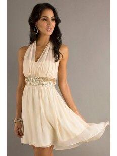 A-line/Princesse V-Ringad Halter Kort/Mini Chiffong Cocktail Dress