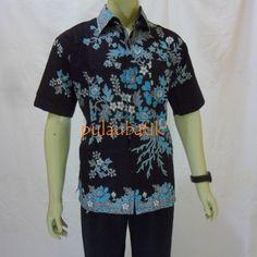 Baju batik kerja untuk cowok model hem lengan pendek terbaru motip melati  hitam. Fashion Store · batik pria hem kemeja 411a811f60