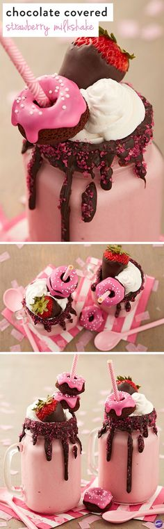 Chocolate Covered Strawberry Milkshake Recipe - Mom will enjoy the goodness of chocolate covered strawberries in a glass with this yummy chocolate covered strawberry milkshake! Dark Cocoa Candy Melts blend perfectly with strawberry ice cream. Top it all off with sparkling sugar, a mini chocolate doughnut and a chocolate covered strawberry, of course.