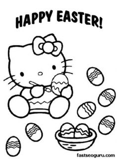 printable easter hello kitty coloring pages printable coloring pages for kids - Kitty Easter Coloring Pages