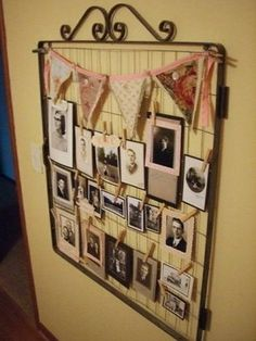 Use an old gate door for holding photos. #decorating #DIY