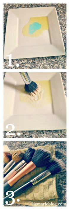 How to clean your makeup brushes via @http://www.lizmarieblog.com    What you need:  1. Olive Oil  2. Dirty makeup brushes  3. Dish soap {any soap will do}  4. A plate