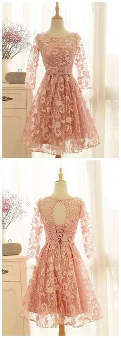 A-LINE SCOOP SHORT/MINI HOMECOMING DRESS LACE COOKTAIL DRESS KMY467
