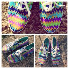 DIY Chevron Shoes. Very easy project, bye a pair of inexpensive white canvas shoes, paint in any colour and design you like with fabric markers.