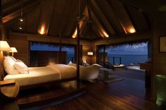 I could get used to this bedroom with a view. Deluxe Water Villa @ Conrad Hotel :: Maldivian luxury.