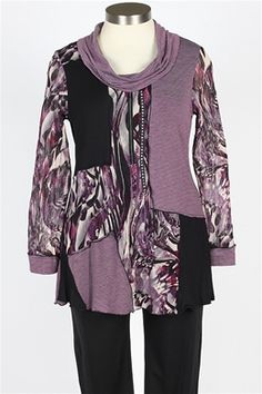 Zoe - Cowl Tunic - Purple & Black $119... LOVELOVELOVE Zoe Designs!