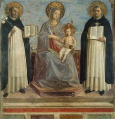 Angelico, fra Beato (fra Giovanni da Fiesole; Guido di Pietro)  The Virgin and Child with Sts Dominic and Thomas Aquinas  Italy, Between 1424 and 1430.(Hermitage,Saint Petersburg,Russia.) http://www.hermitagemuseum.org/wps/portal/hermitage/digital-collection/01.+paintings/29262/?lng=en