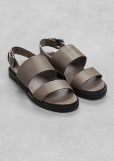 raw edge leather sandal • & other stories