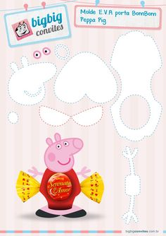 I loved these Peppa Pig Porta Bombom souvenirs. Excellent suggestion for you who are organizing the children's party! Molde Peppa Pig, Cumple Peppa Pig, Foam Crafts, Paper Crafts, Peppa Pig Printables, George Pig Party, Finger Puppet Patterns, Toy Craft, Unicorn Party