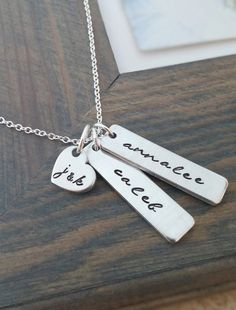 Hand Stamped Jewelry // Personalized Necklace // Necklace with Kids Names and Parents Initials // Family Necklace
