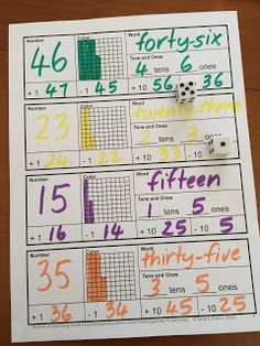 Place Value FREEBIES - on this one children roll the dice to create a number then write it in words, tens and one, and color the grid. They also add 1 and 10 and take 1 and 10. A similar worksheet for 3 digit numbers is also included.