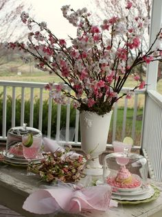 Cherry Blossom Tea Party ♥ ~ Golden Velvet Tip: Place leaves in tall vases and set out on patio in each corner
