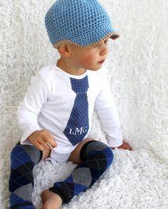 Round One Newsboy Hat with Visor Brim Cotton Made to by knotmoxie, $30.00