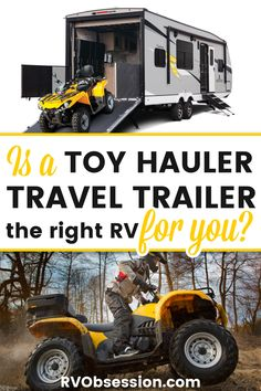Want to travel the country in your RV, but take all equipment with you that makes your travel fun!? Toy hauler travel trailers mean you CAN take it all! Toy hauler travel trailers | Toy hauler trailers | Toy hauler RV | Toy hauler campers | Best toy hauler travel trailers | Small toy hauler travel trailers Toy Hauler Trailers, Toy Hauler Camper, Toy Hauler Travel Trailer, Best Travel Trailers, Lightweight Travel Trailers, Kz Rv, Keystone Outback, Fifth Wheel Toy Haulers, Buying An Rv
