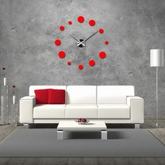 Contemporary 3D adhesive wall clock - oversized 3D wall clock with great design. Wall clock for the kitchen and wall clock for t