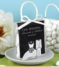 Our Personalized Wedding Mini tote. Fill with your choice of wonderful treats and then add a custom personalized label that shows your unique style! Many label designs and colors.