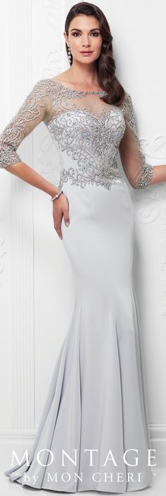 Formal Evening Gowns by Mon Cheri - Spring 2017 - Style No. 117910 - ice gray evening dress with beaded illusion three-quarter length sleeves and neckline