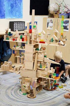 STEM: Block play in kindergarten. Look what these kindergarten students created in their block center