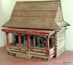 Super Antique Carved Wood DOLL HOUSE vtg Folk Art CottageToy Old Paint Log Cabin #Americana #Dad