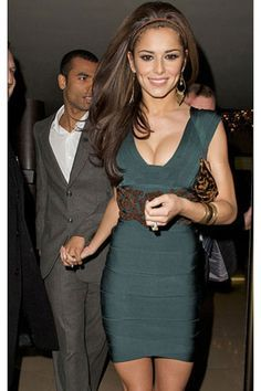 Cheryl Cole   Emerald Beaded Bandage Dress in the style of that seen on Cheryl Cole ...
