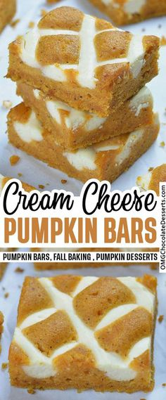 Pumpkin Bars with Cream Cheese are irresistible fall treat!#pumpkin #bars #fall #baking