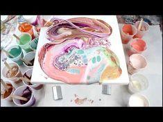 (7) Purple Acrylic Fluid Dirty Pour BIG CANVAS!!! - YouTube