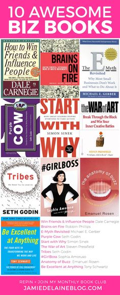 10 Awesome Biz Books by Jamie Delaine Watson // http://jamiedelaineblog.com/post/25999/best-business-books-for-bloggers/