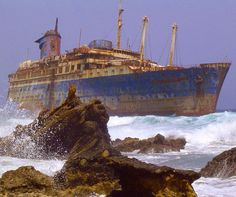 The abandoned wreckage of the American Star (SS America) Fuerteventura Canary Islands. Photo by Wollex (Wikipedia Creative Commons). by itsabandoned