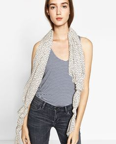 Image 4 of SCARF WITH A POLKA-DOT PRINT from Zara