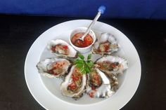 Oyster with chilli and dill sauce