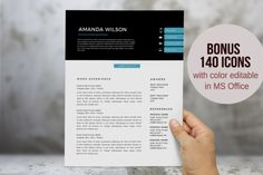 Blue 2 in 1 Word resume template by Inkpower on Creative Market