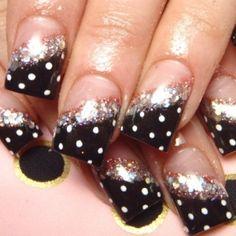 Half black polka dot