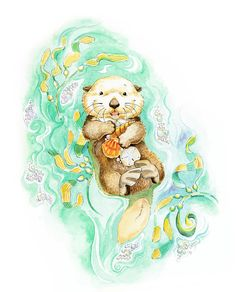 The Treasures Hunter Sea Otter Giclee Print by PosieMeadows
