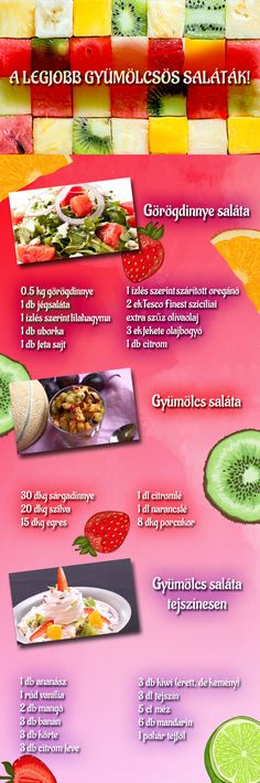 Szuper saláták gyümölcsökből! :) Salads, Food And Drink, Low Carb, Healthy, Recipes, Recipies, Ripped Recipes, Health, Salad