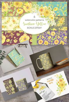Floral Patterns, Watercolor Pattern, Shades Of Yellow, Lorraine, Pattern Paper, Yellow Flowers, Your Design, Decoupage, Sunshine