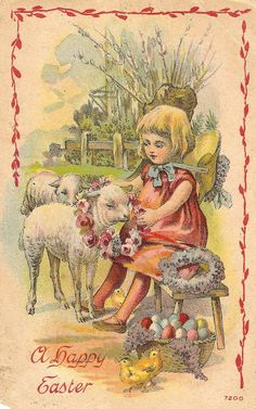 Wishing all of my sweet friends...Vintage Easter card (no telling how old this)