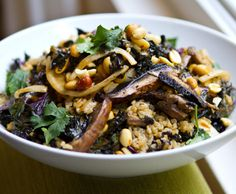 bowls-for-healthy-winter-eating  peanut kale mushroom bowl