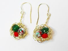 Emerald-Splatter Glass-Czech Glass Nested Christmas Bead Earrings | GemOnAWire - Jewelry on ArtFire, on sale for $21.28 and shipped free for Christmas.