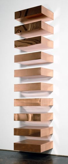 Donald Judd, Untitled, 1969. Copper, ten units with 9-inch intervals, 9 x 40 x 31 inches (22.9 x 101.6 x 78.7 cm) each; 180 x 40 x 31 inches (457.2 x 101.6 x 78.7 cm) overall