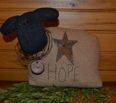 primitive sheep shelf sitter Hope by OrchardHillPrimitive on Etsy, $14.95
