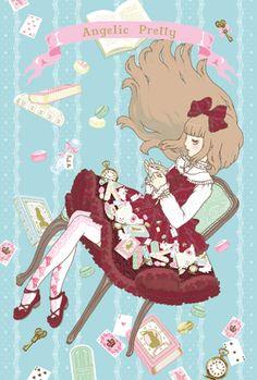 Angelic Pretty's Wonderstory from 2009 by Imai Kira / 今井キラ. Via Wordpress and http://kira.main.jp #GothicLolita #sweet #lolita