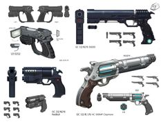Concept weapons from ArtStation - Project Psychic, SUNG WOOK BAIK various sci-fi handguns and pistols #guns                                                                                                                                                     More
